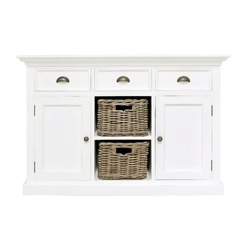Halifax Mahogany Timber 2 Door 3 Drawer Buffet Table with 2 Rattan Baskets, 125cm