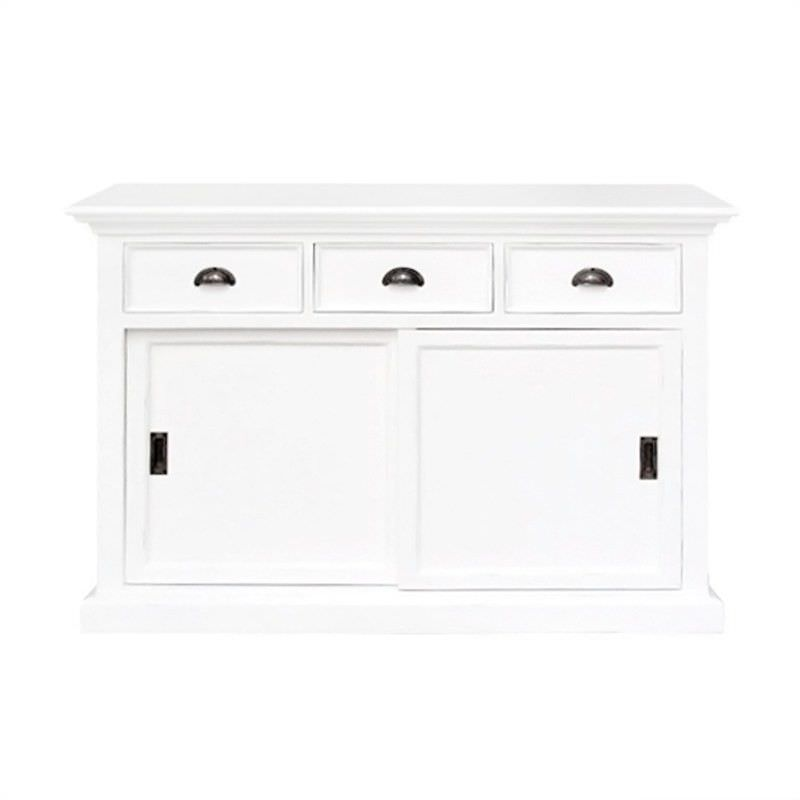 Scotia Solid Mahogany Timber 2 Sliding Doors 3 Drawer Buffet Table