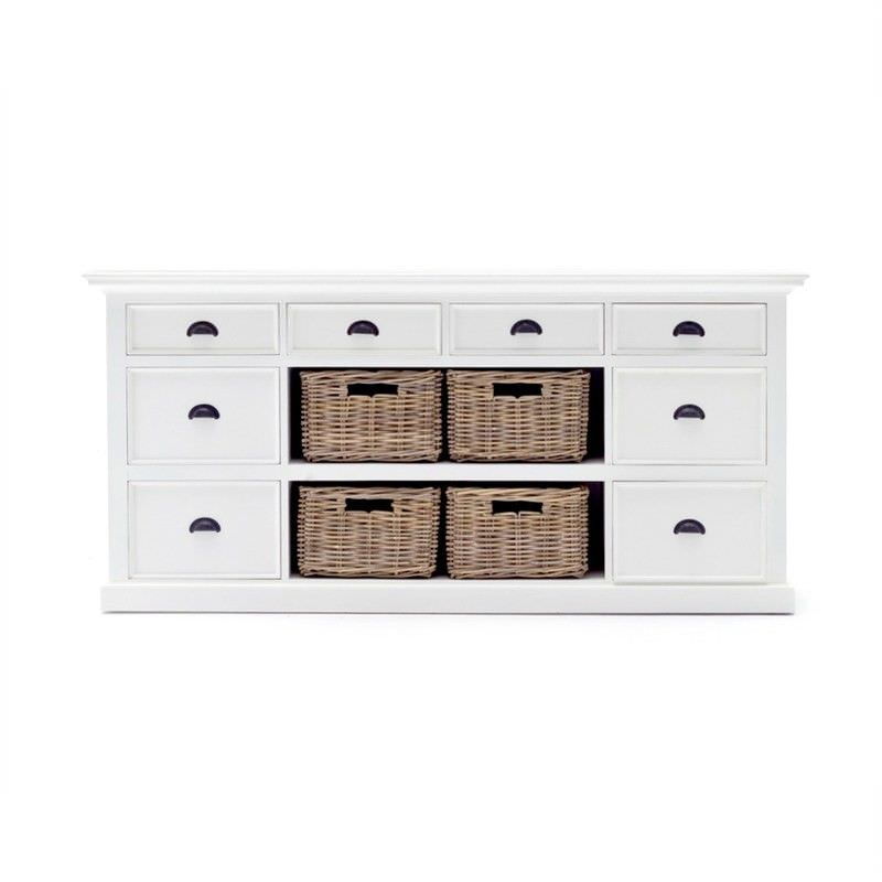 Halifax Mahogany Timber 4 Drawer Buffet Table with 4 Rattan Baskets, 160cm