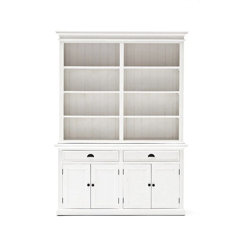 Halifax Mahogany Timber 4 Door 2 Drawer Hutch Cabinet, Distressed White