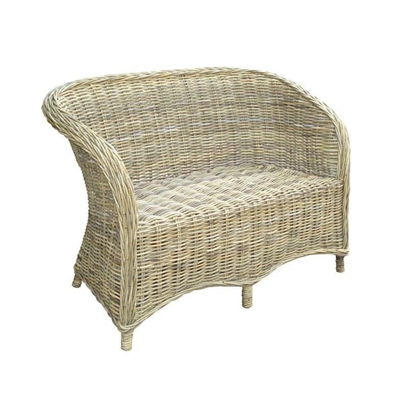 Beaymont Kubu Rattan 2 Seater Sofa Chair with Cushion