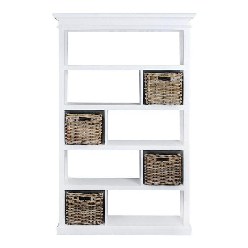 Halifax Solid Mahogany Timber 4 Rattan Baskets Display Shelf / Room Divider