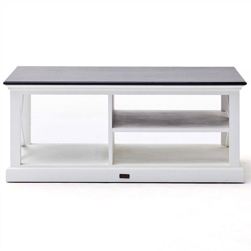 Halifax Contrast Mahogany Timber Coffee Table,120cm, Black / White