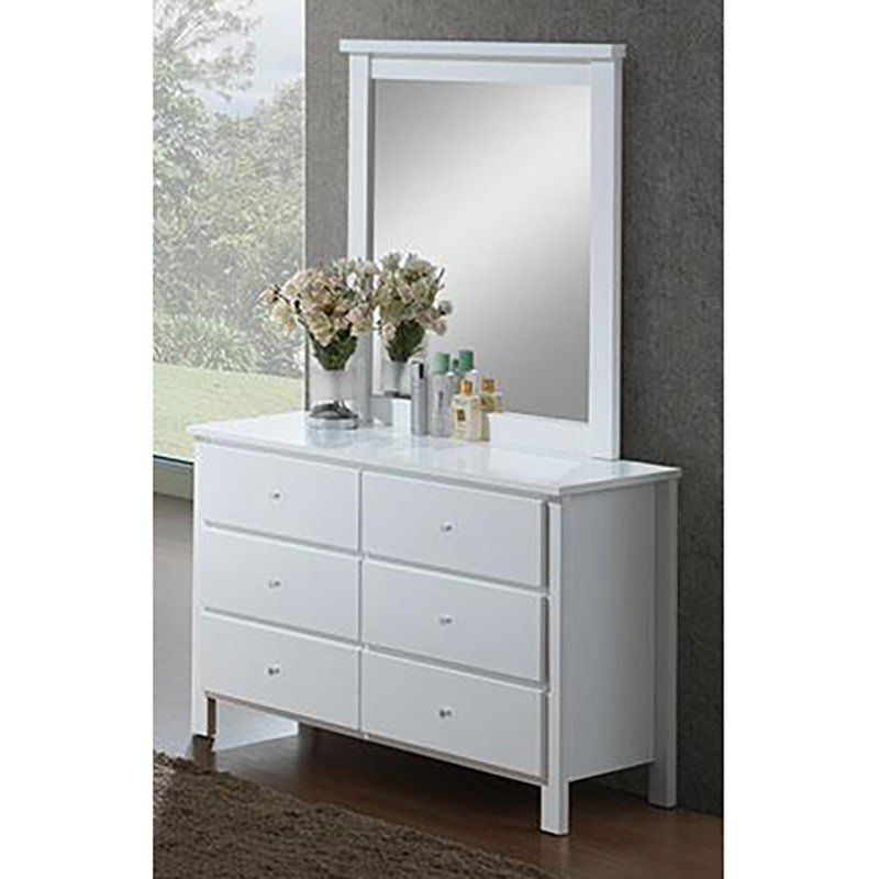 Brodie Wooden 6 Drawer Dresser with Mirror