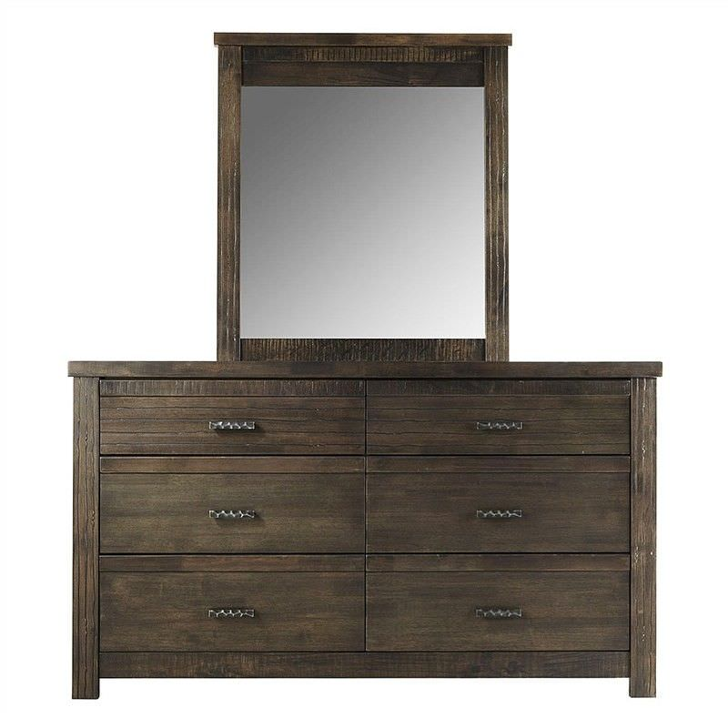 Riverdale Solid Rubber Wood Timber 6 Drawer Dresser with Mirror