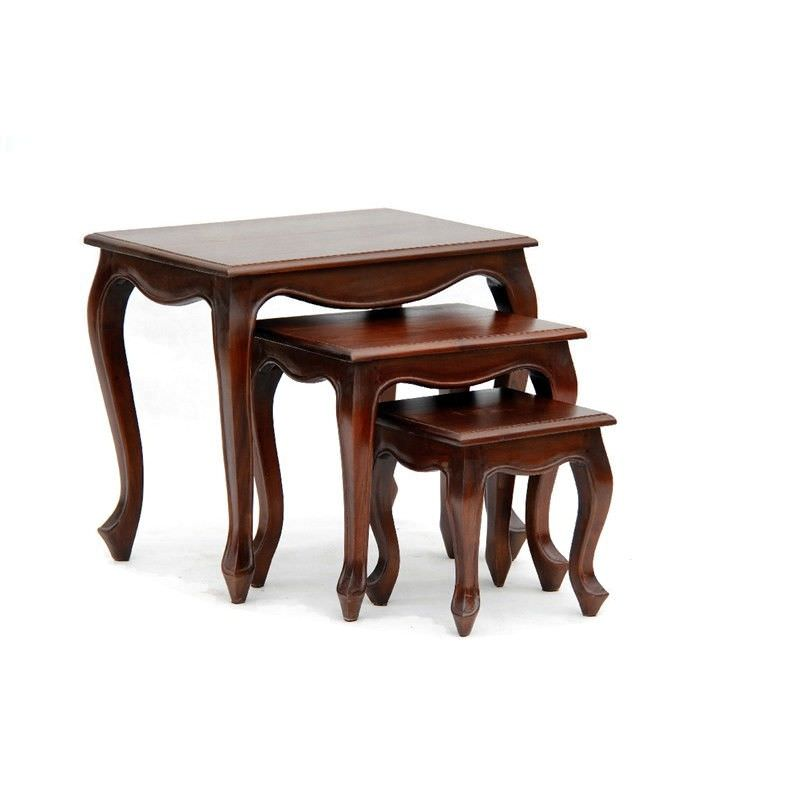 Queen Ann 3 Piece Solid Mahogany Timber Nested Table Set, Mahogany