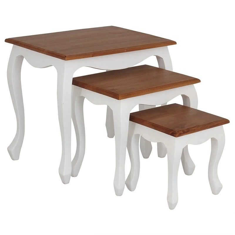 Queen Ann 3 Piece Solid Mahogany Timber Nested Table Set, White/Caramel