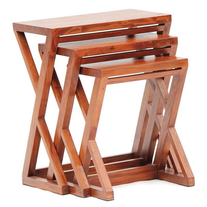 Banggai 3 Piece Mahogany Timber Nested Table Set, Light Pecan
