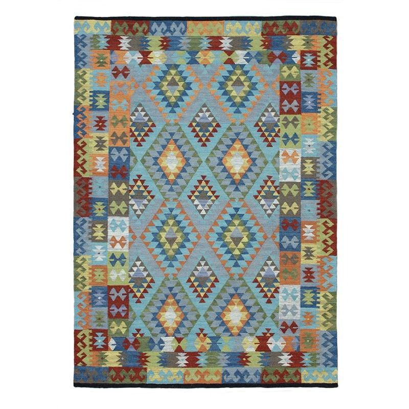 Nomad Multi Border Hand Woven Wool Rug, 160x230cm, Blue