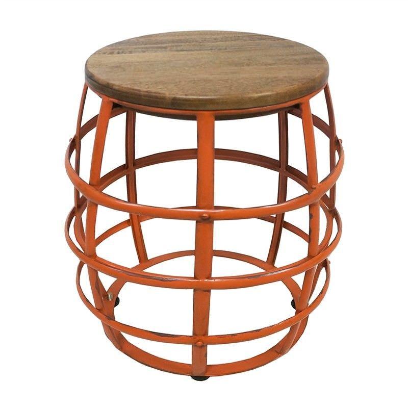 Benko Metal Frame Barrel Stool with Timber Seat, Orange