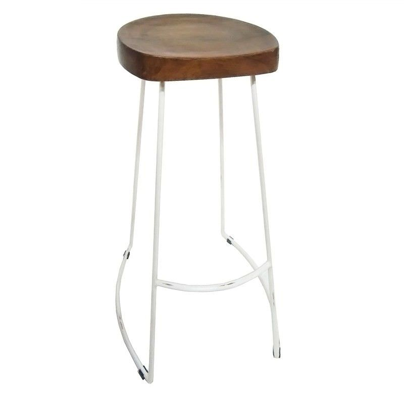 Greendale Metal Frame 75cm Bar Stool with Timber Seat - White