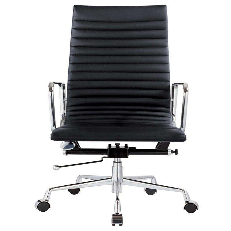 Executive Eames Replica Leather Office Chair - Black Premium
