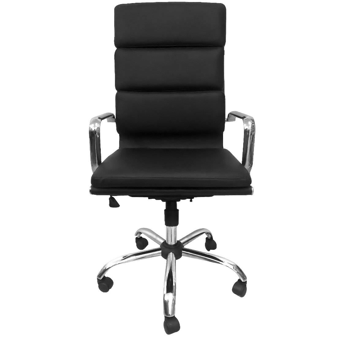 Replica Eames Italian Leather Soft Pad Boardroom Chair, High Back, Black / Silver