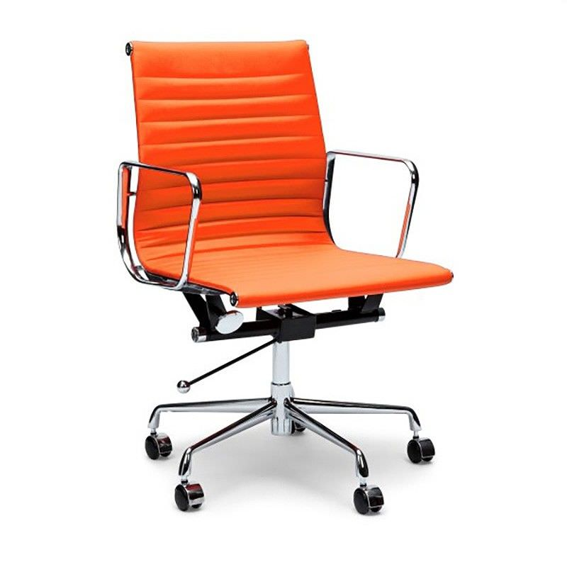 Replica Eames PU Leather Management Chair, Mid Back, Orange