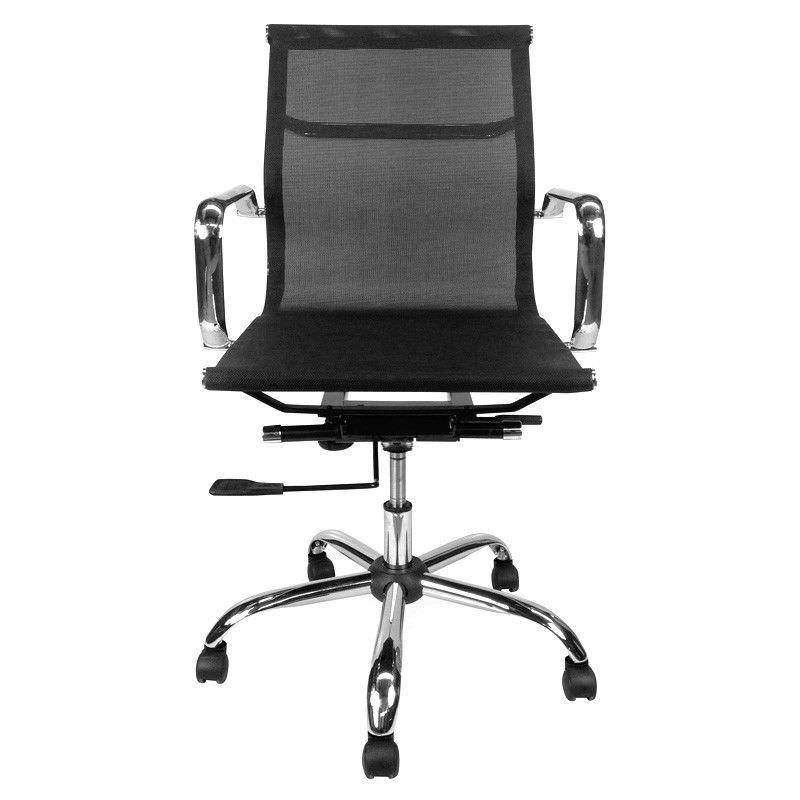 Replica Eames Aluminium Group Management Chair, Elastomeric Mesh, Black