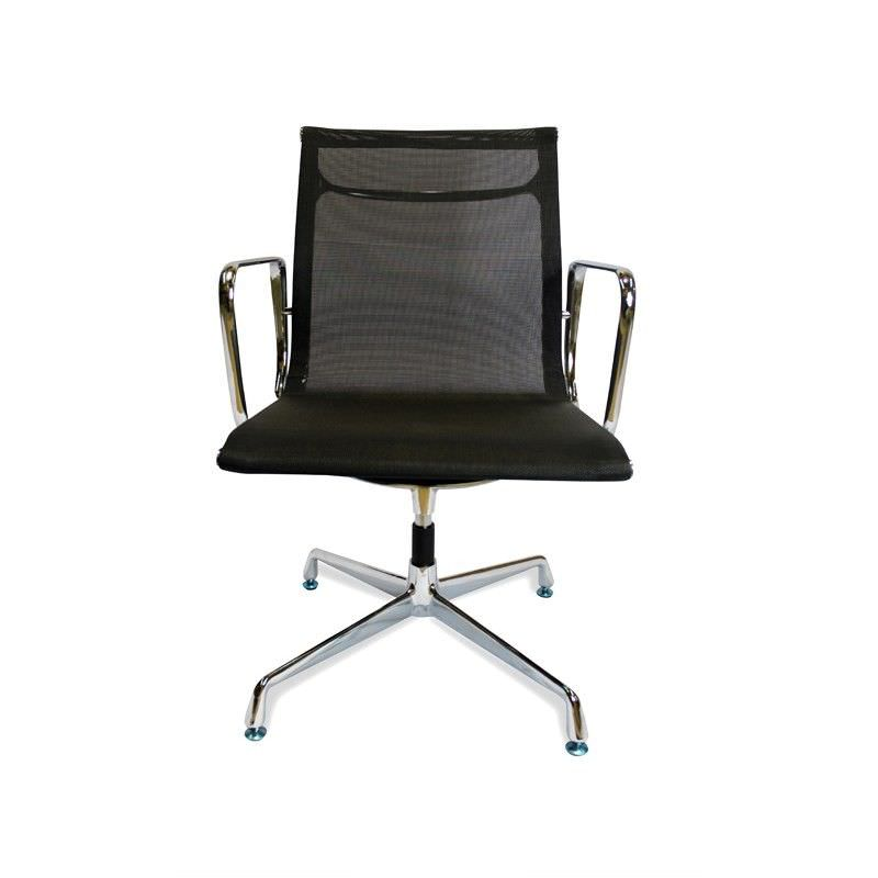 Mesh Visitor Chair - Black-Fixed Base With Arms
