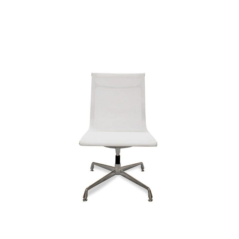 Mesh Visitor Chair - White-Fixed Base No Arms