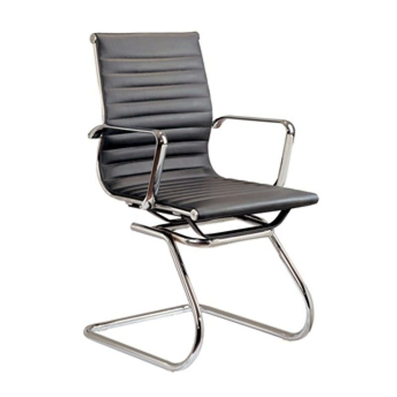 Replica Eames Visitor Chair, Synthetic Leather, Black
