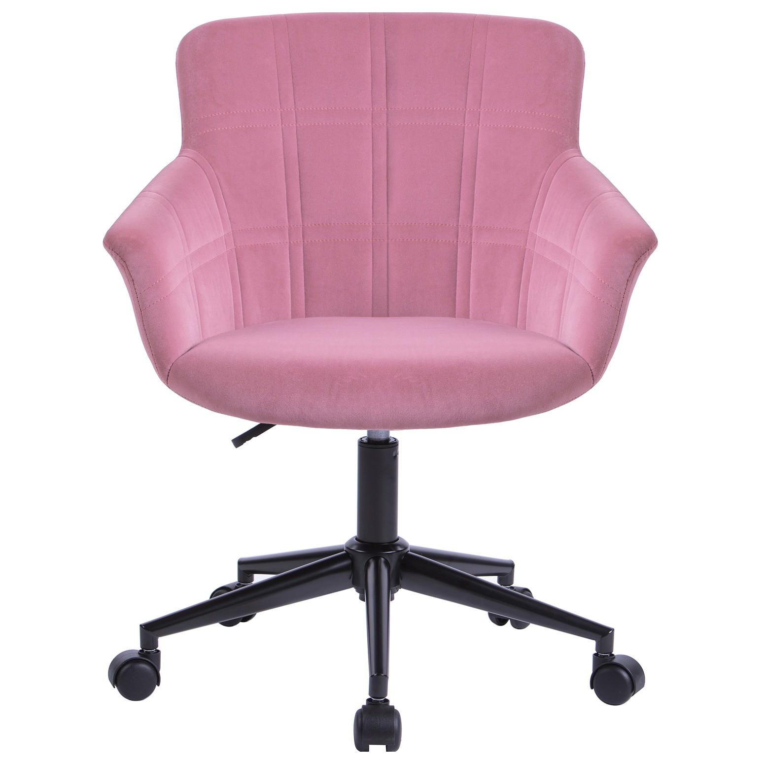 Lunan Velvet Fabric Office Chair, Pink