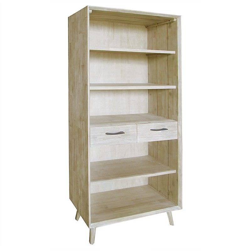 Clyde Solid Acacia Timber 2 Drawer Bookcase