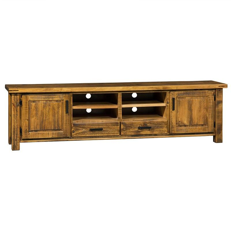 Astwood Distressed Pine Timber 2 Door 2 Drawer 238cm TV Unit