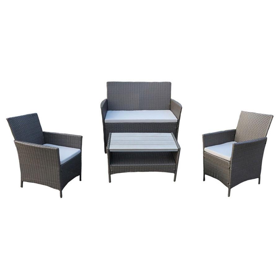 Ravello 4 Piece Outdoor Wicker Lounge Set, Grey