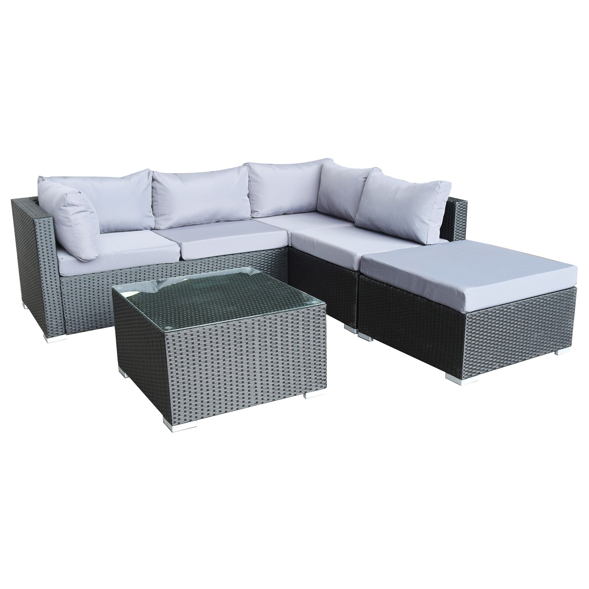 Levanzo 4 Piece Outdoor Wicker Corner Sofa Set, Black