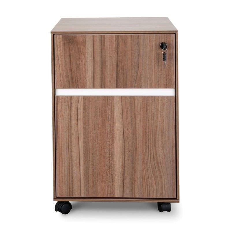 Milando 2 Drawer Moblie Pedestal File Cabinet, Walnut