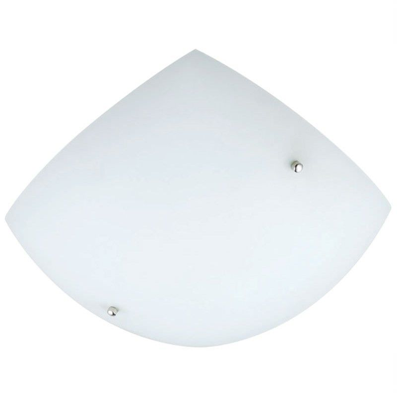 Loggia Curved Square Opal Matt Glass Ceiling Light - 60wx2 (Oriel Lighting)