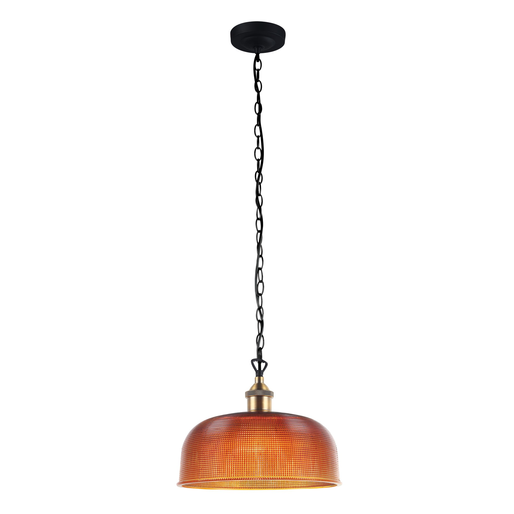 Maison Halophane Glass Pendant Light, 27cm, Amber