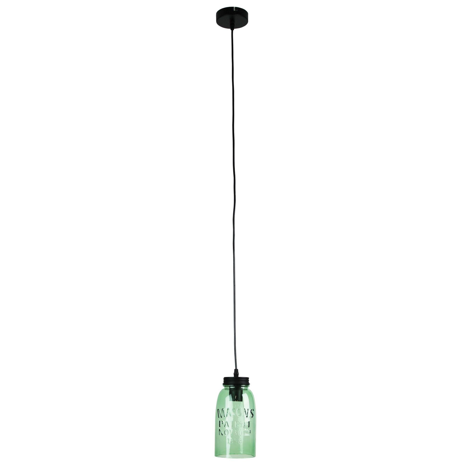Mason Glass Jar Pendant Light, Green