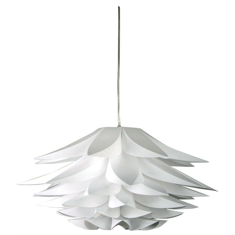 67cm Niche White Poly-Propylene Pendant Light with Brushed Chrome Canopy (Oriel Lighting)
