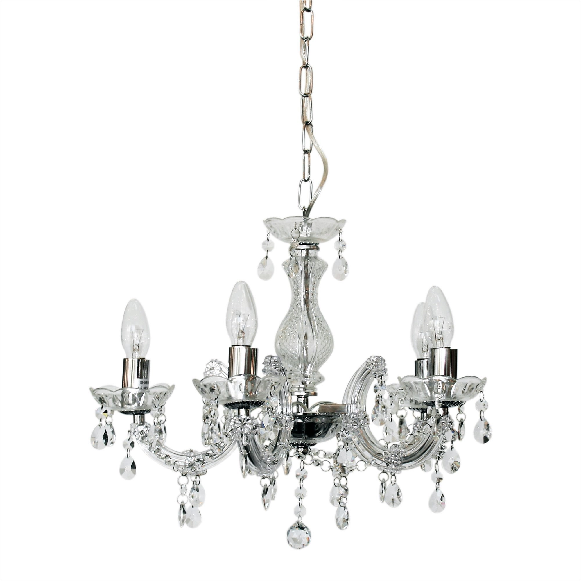 Marie Therese Metal & Glass Chandelier, 5 Arm