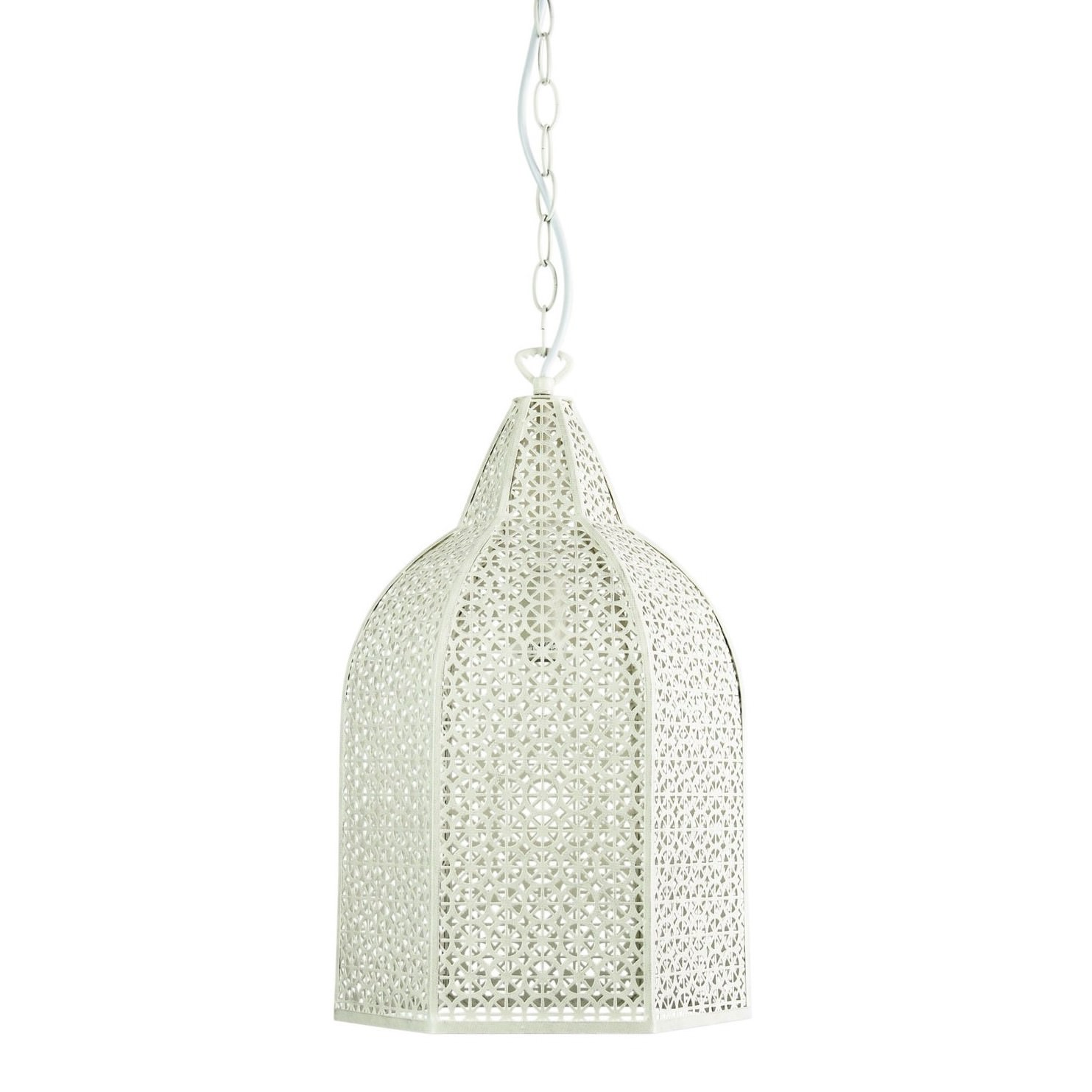 Istanbul Handcrafted Metal Pendant Light, Antique White