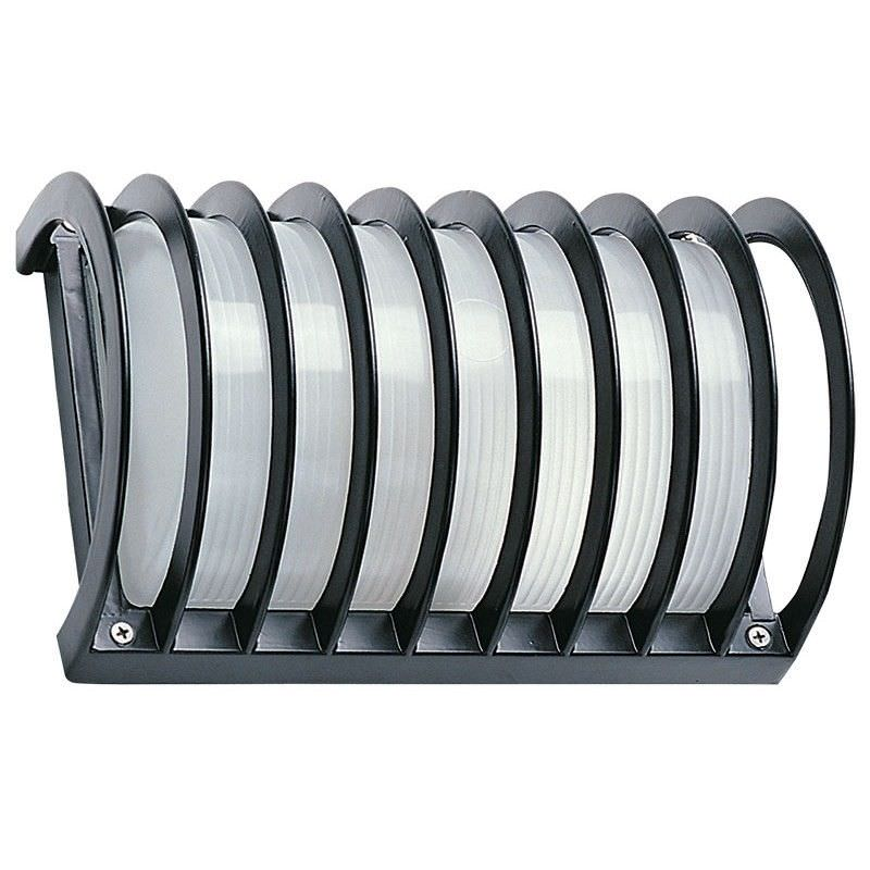 Cylinder IP54 Italian Inspired Exterior Wall Light With Guard - Black (Oriel Lighting)
