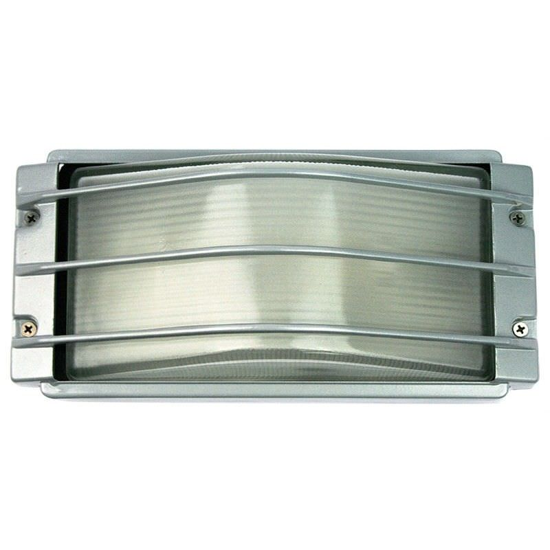 Deck IP54 Curved Glass Bunker Light with Guard - Silver (Oriel Lighting)