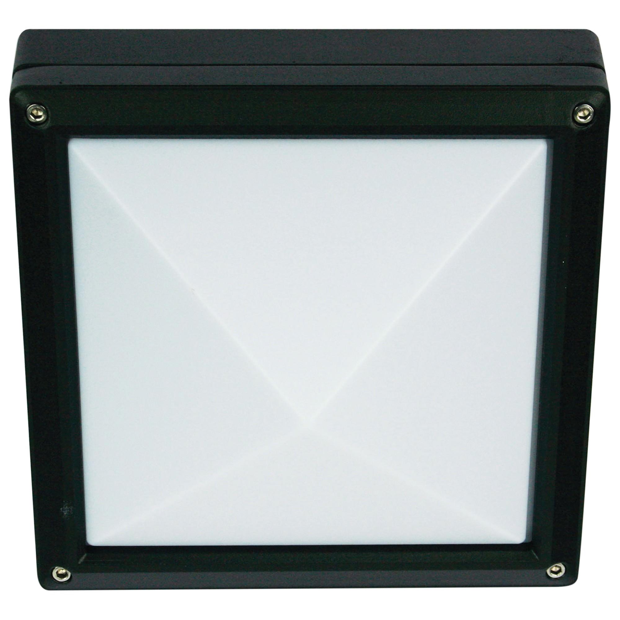 Quatro IP54 Exterior Bunker Light, Plain, Black
