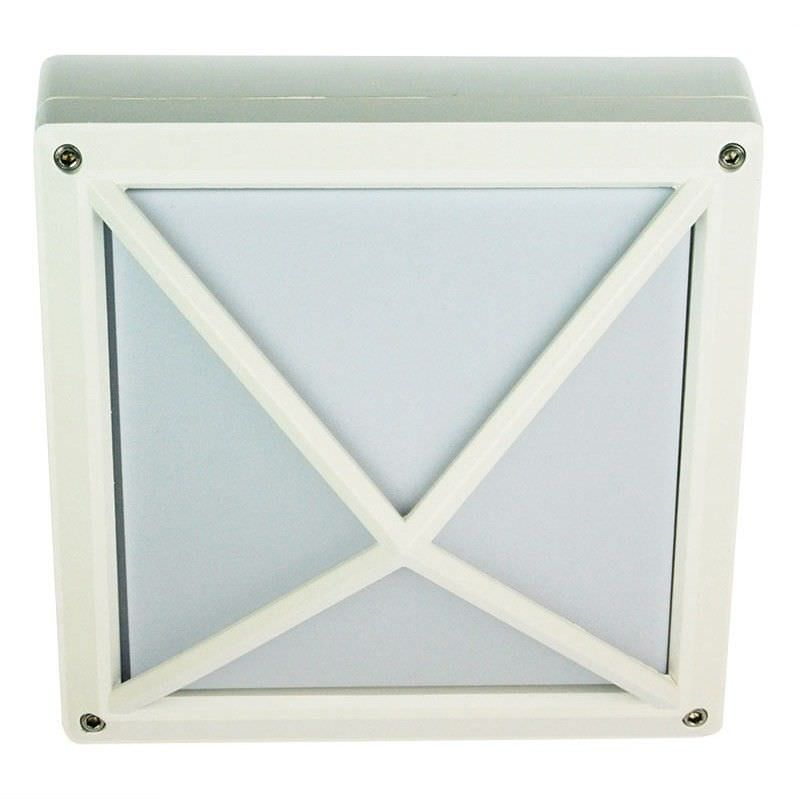 New Quatro IP54 Square Bunker Light - Textured White (Oriel Lighting)