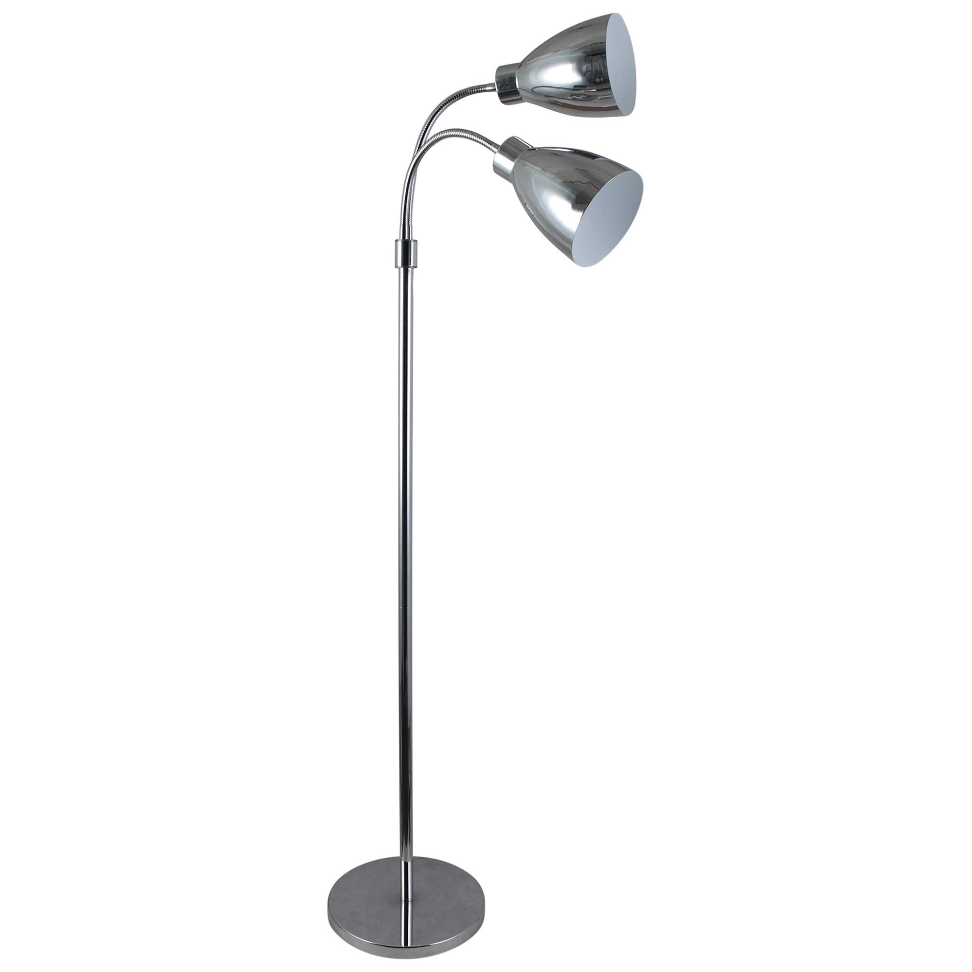 Retro Twin Flexible Neck Metal Floor Lamp, Chrome