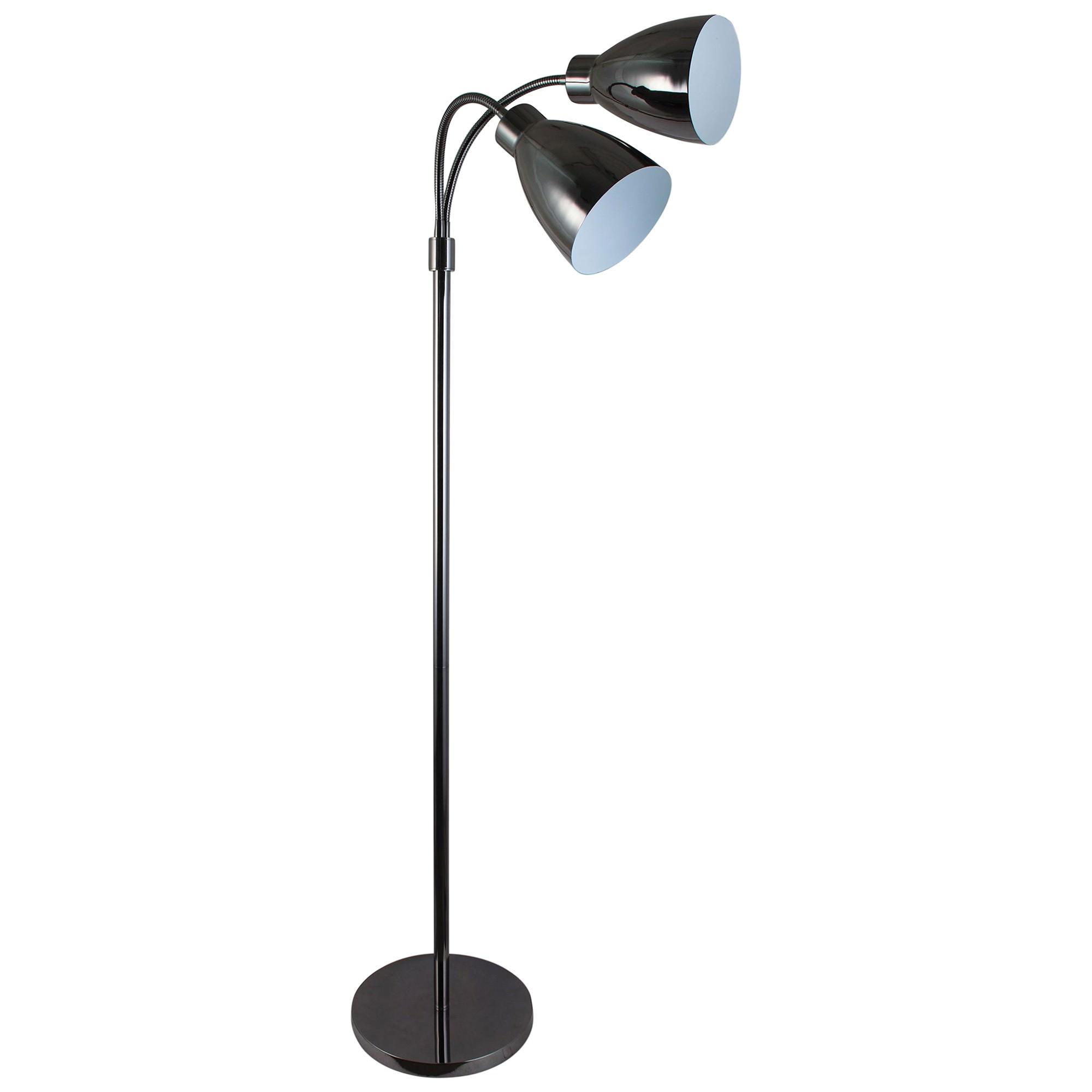 Retro Twin Flexible Neck Metal Floor Lamp, Gunmetal