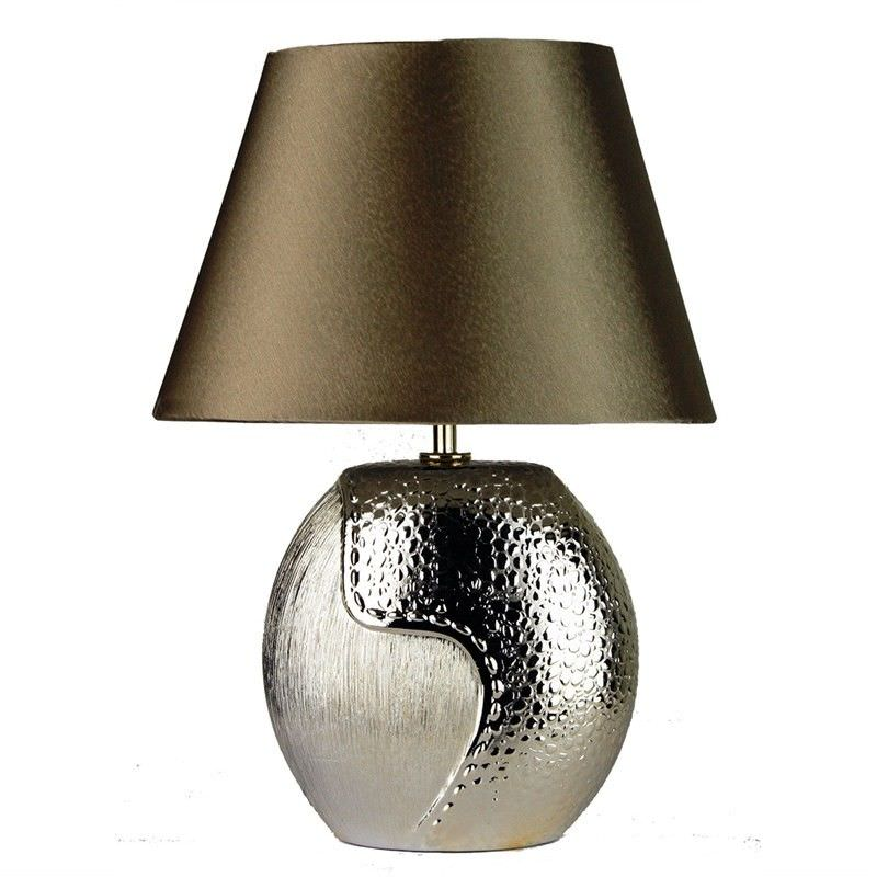 Eclipse Oval Ceramic Base Complete Table Lamp - Champagne (Oriel Lighting)