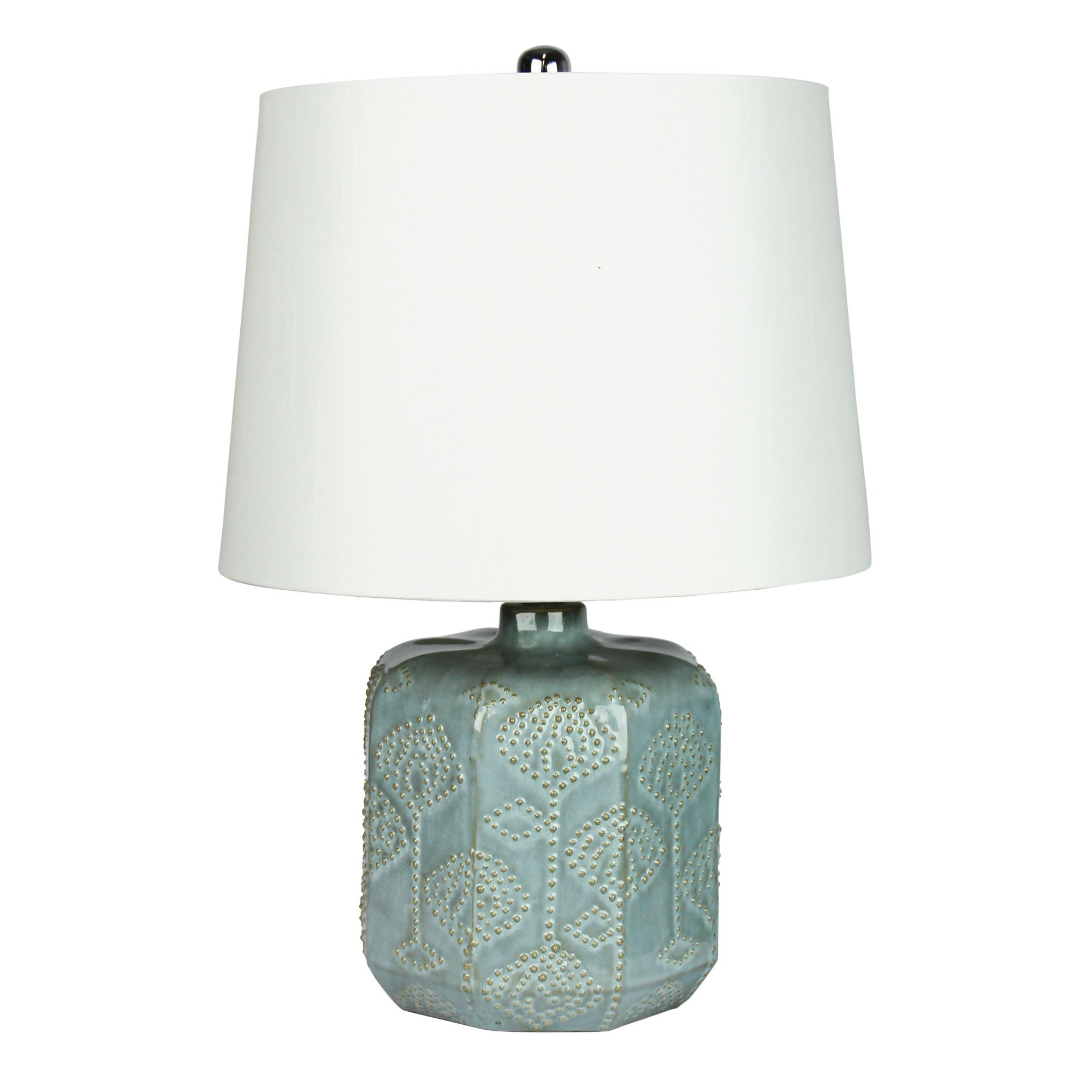 Bikki Embossed Ceramic Base Table Lamp, Duck Egg Blue