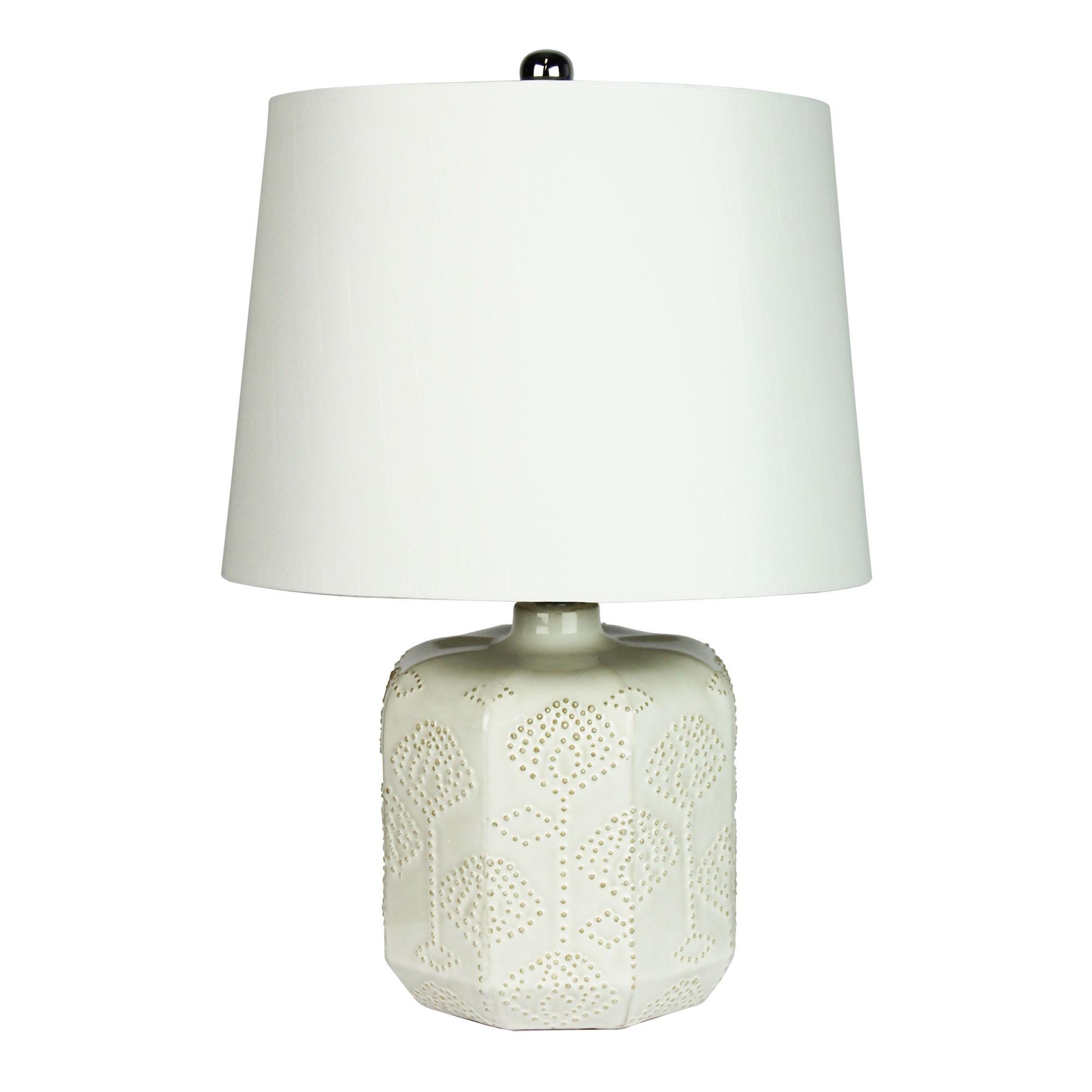 Bikki Embossed Ceramic Base Table Lamp, Antique White