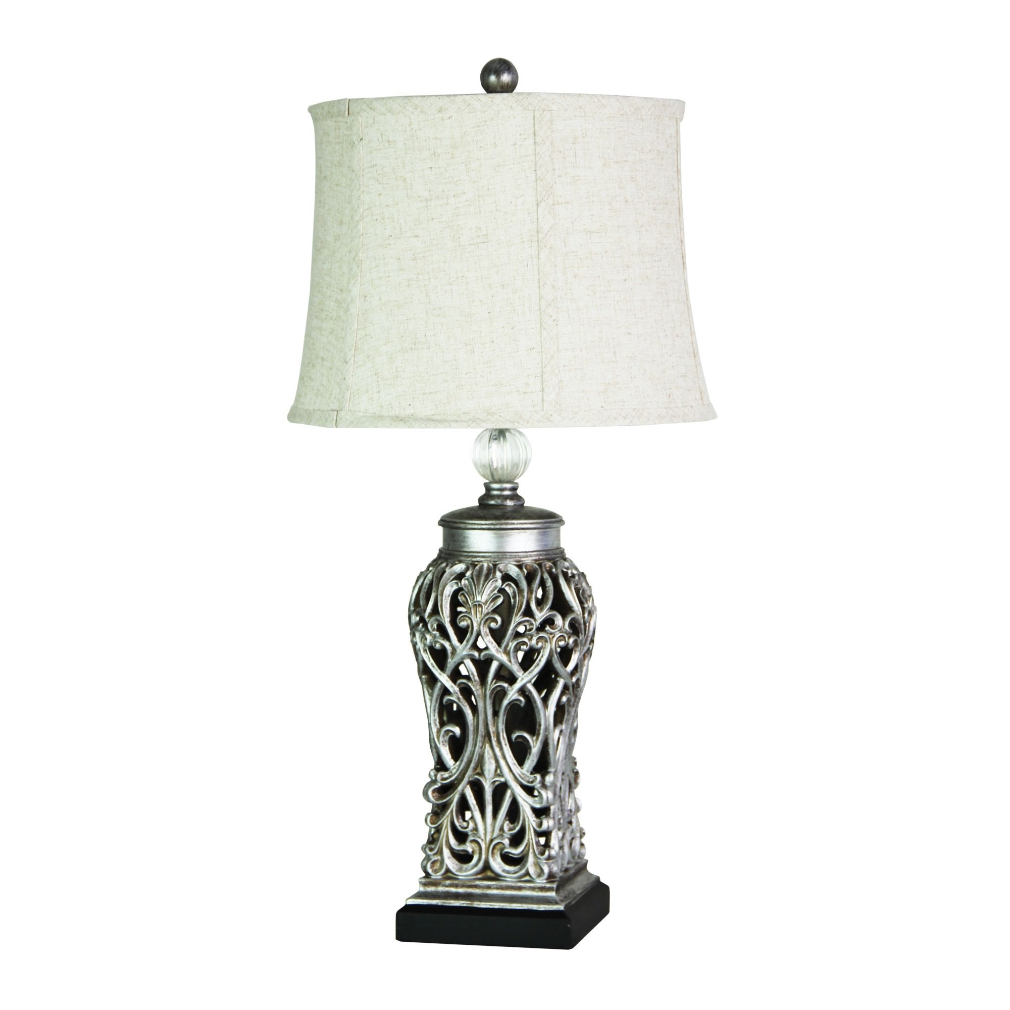 Dorne Filigree Base Table Lamp, Antique Silver