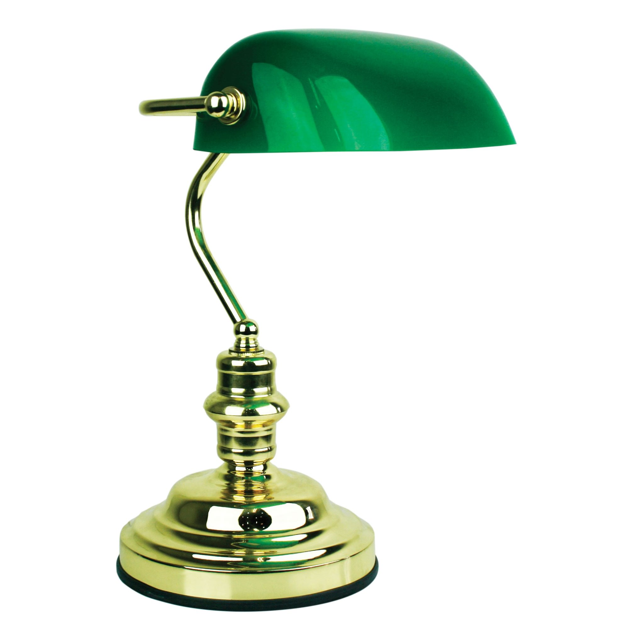 Bankers Touch Desk Lamp, Polished Brass