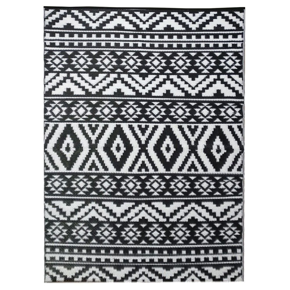 Black And White Rug Outdoor: Chatai Aztec Reversible Outdoor Rug, 240x150cm, Black / White