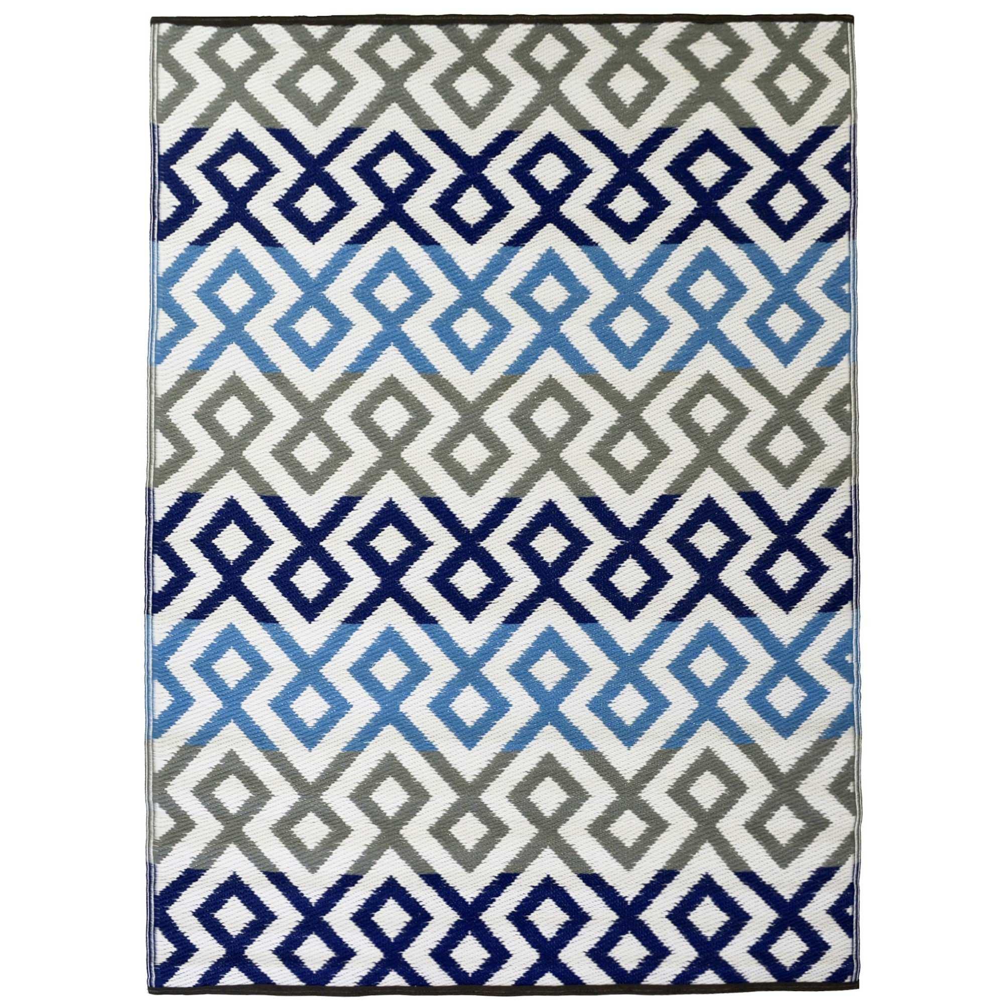 Chatai Geo Diamond Reversible Indoor/Outdoor Rug, 150x240cm, Blue/Grey