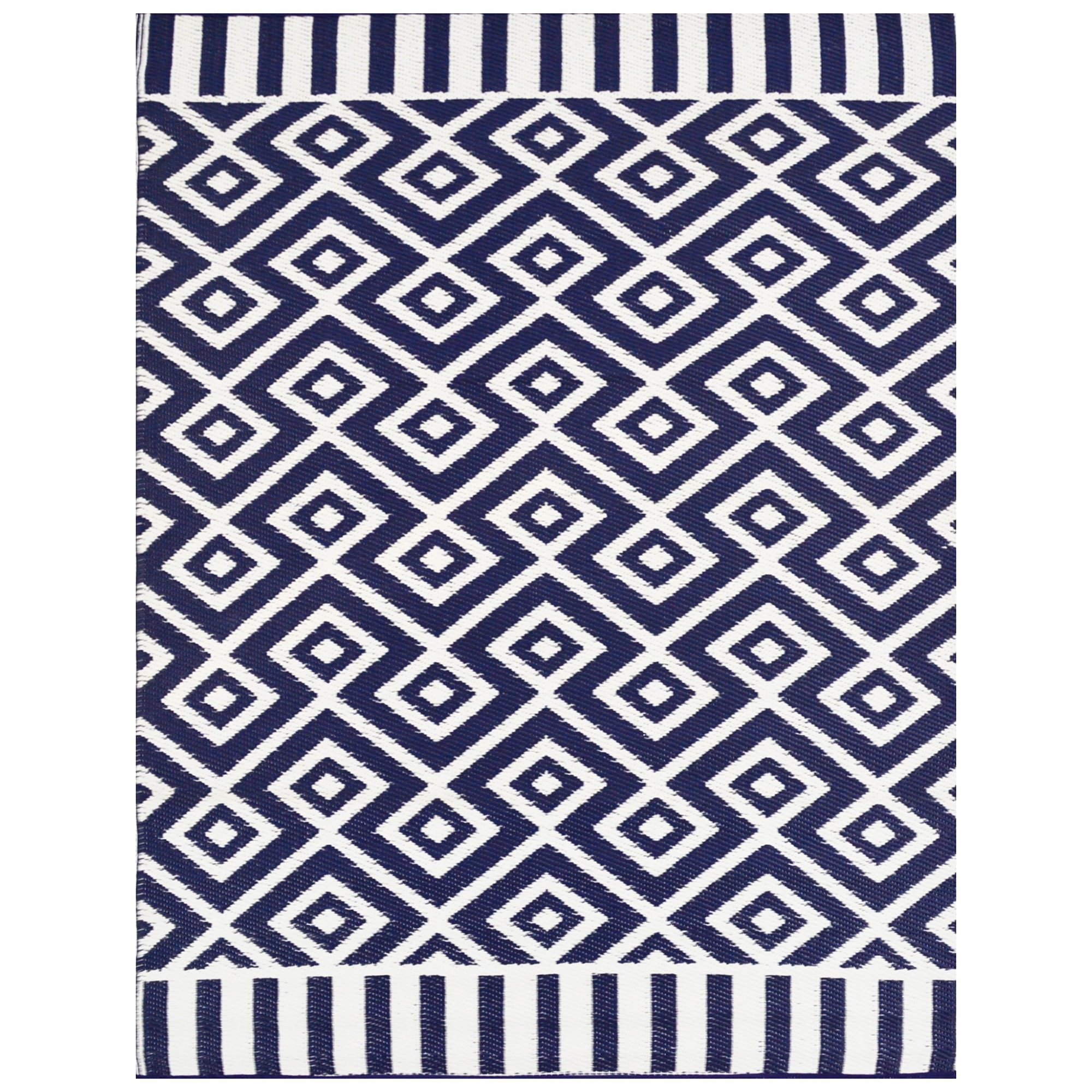 Chatai Aztec No.002 Reversible Outdoor Rug, 240x150cm, Navy/White