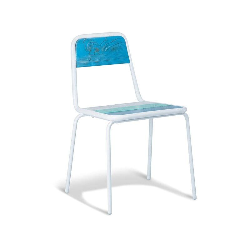 Oppa Commercial Grade Stackable Metal Dining Chair with Timber Seat - White/Blue