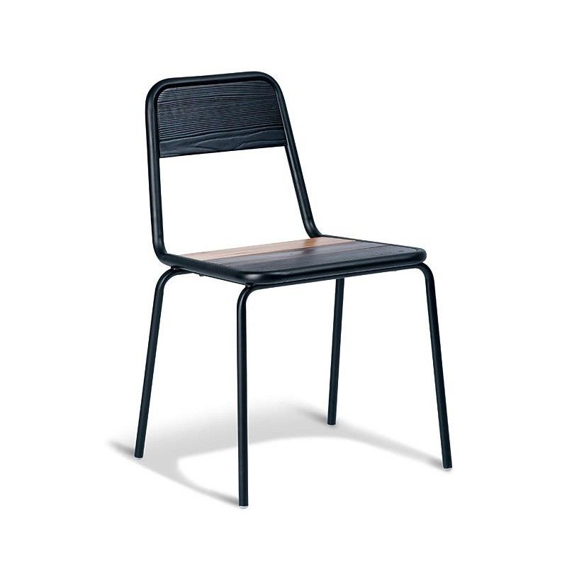 Aurora Commercial Grade Stackable Metal Dining Chair with Timber Seat - Black